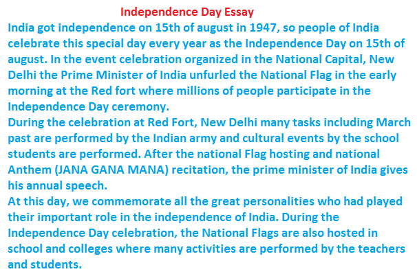 independence day essay for class 1