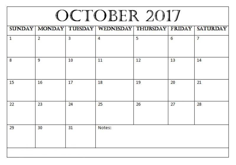 Blank October 2017 Calendar Pdf