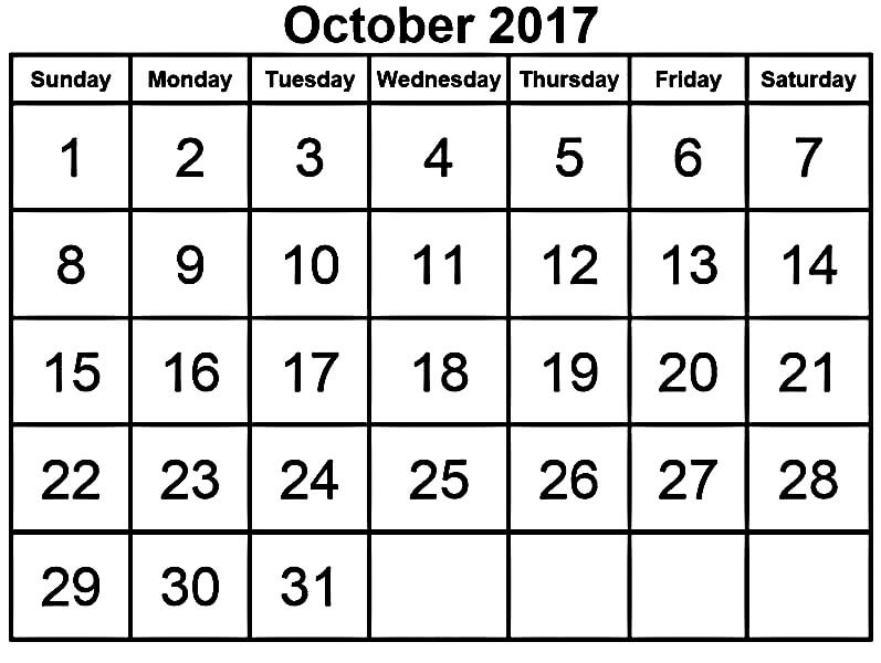 Blank October 2017 Printable Calendar Template