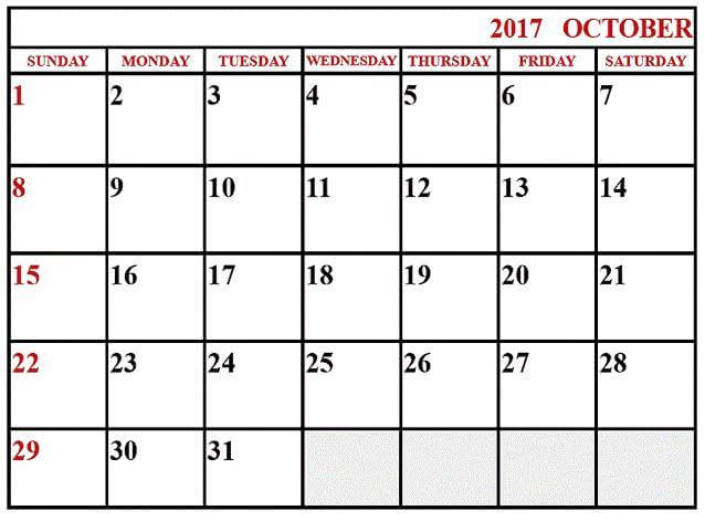 Blank October 2017 Calendar Templates Page Word Pdf