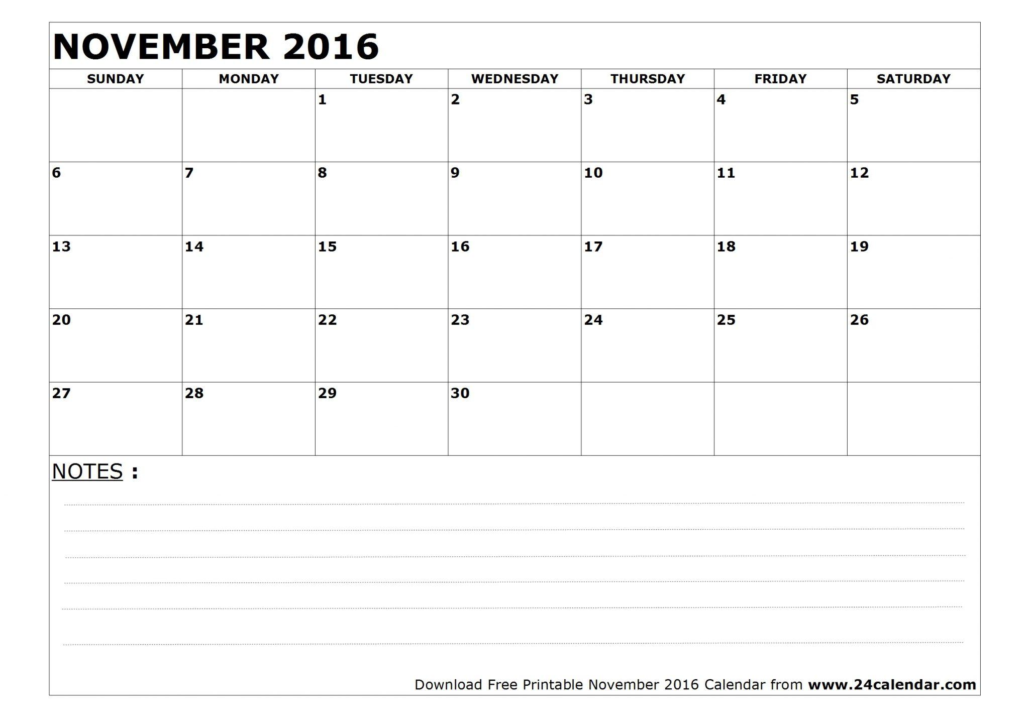 November 2016 Calendar Template
