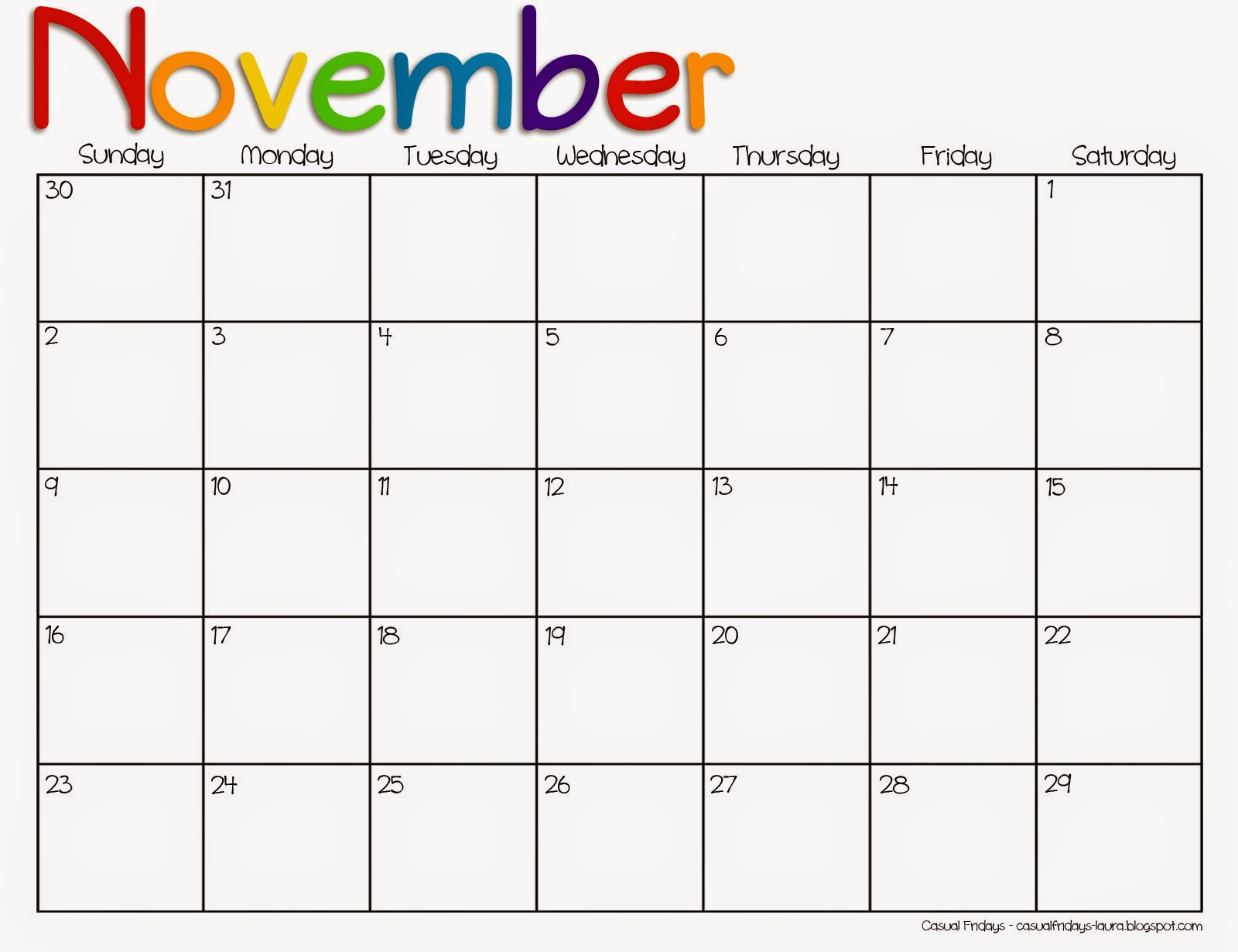 November 2016 Printable Calendar
