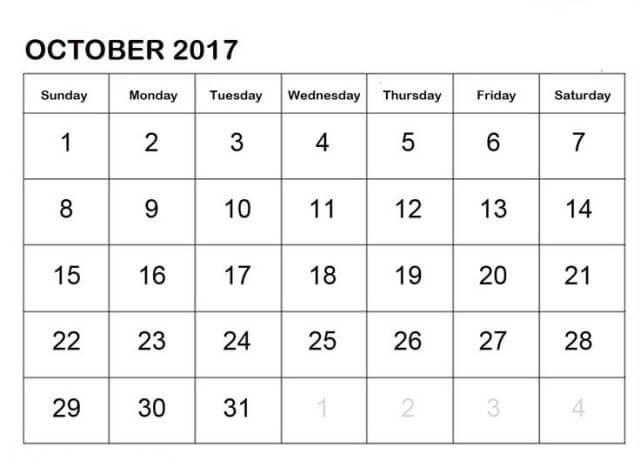 October Month 2017 Calendar Template