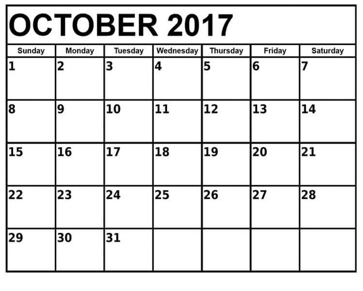 October Monthly Calendar 2017 Template
