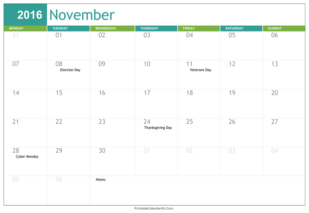 2016 Blank November Calendar Template