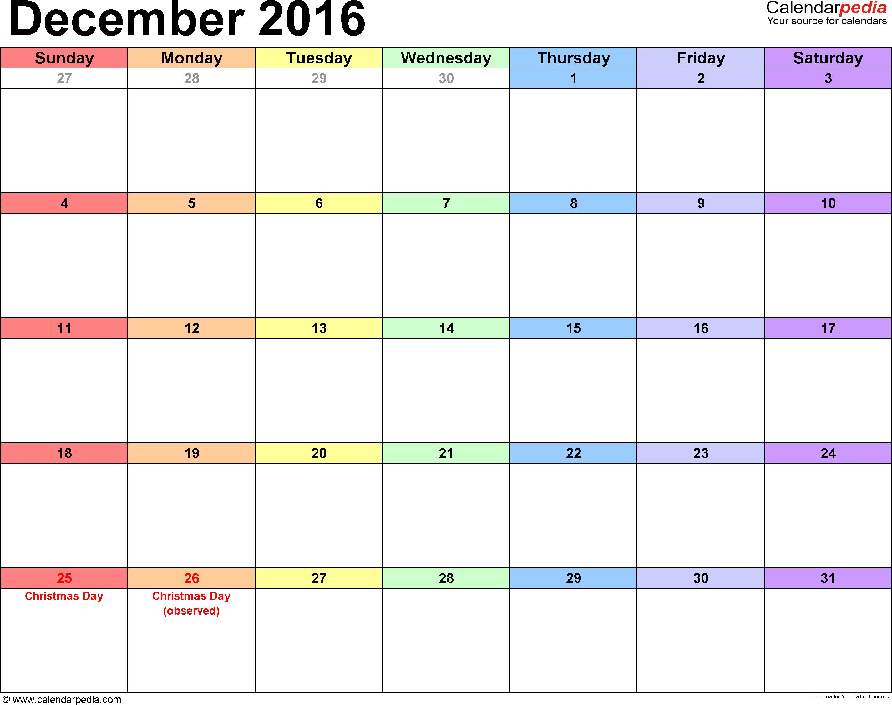 2016 December Blank Calendar Excel