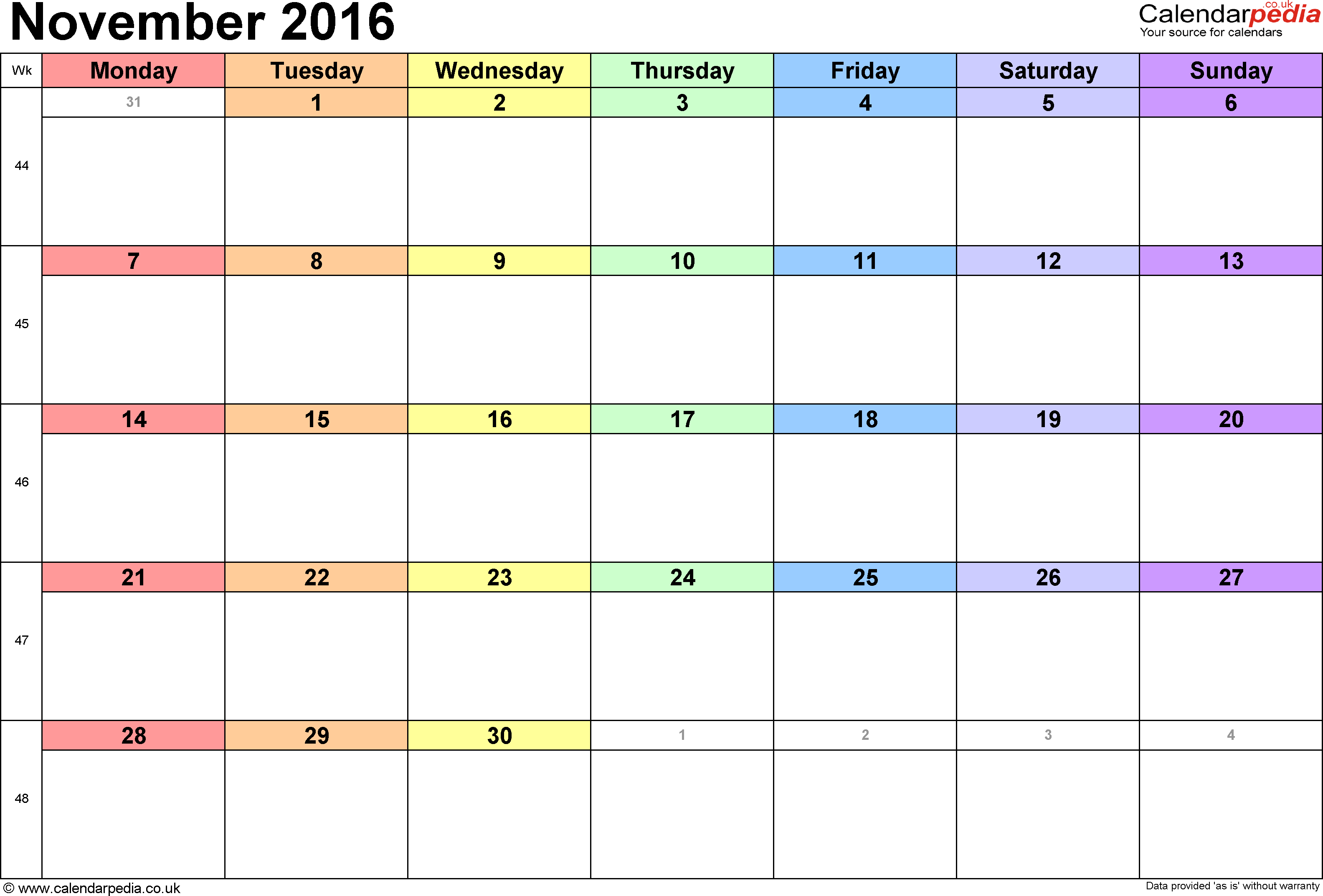 2016 November Blank Calendar Excel
