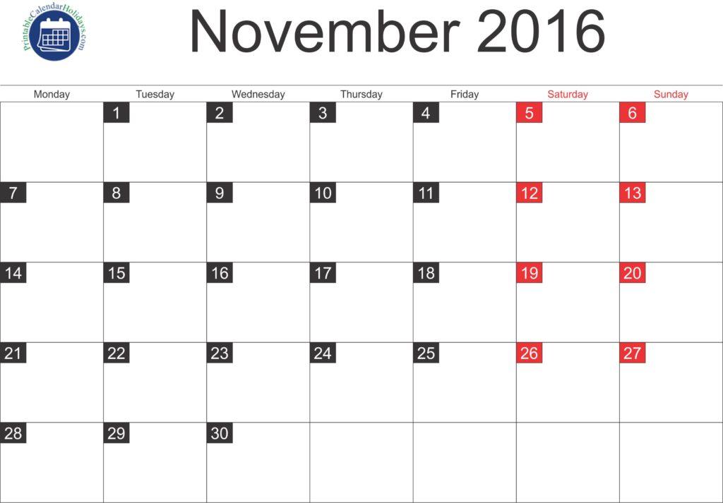 2016 November Blank Calendar PDF