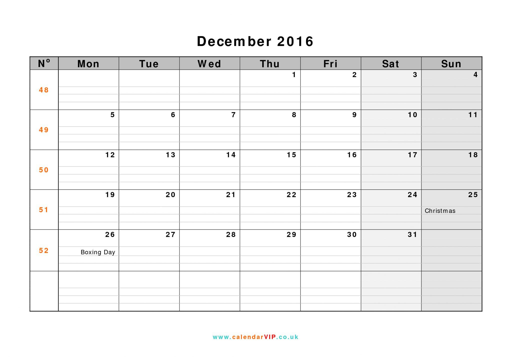 Blank Calendar December 2016