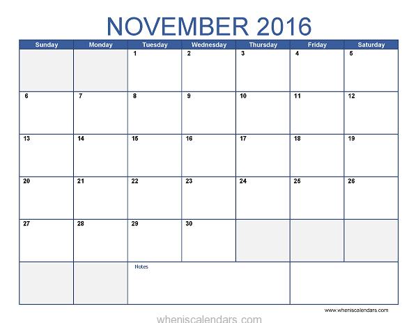 Blank November Calendar Templates 2016