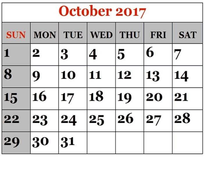 Blank October 2017 Calendar Page