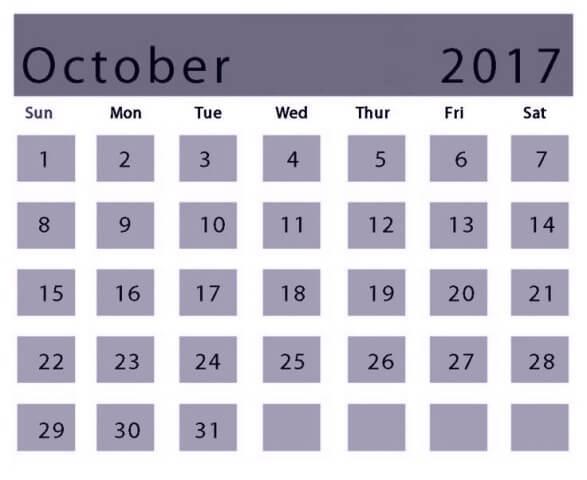 Cute Oct 2017 Calendar