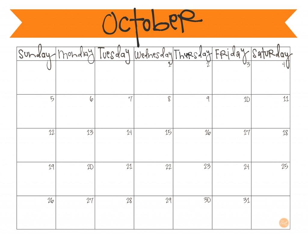 Cute October 2016 Calendar Editable