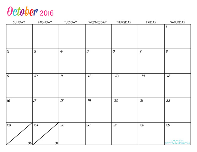 Cute October 2016 Calendar Printable