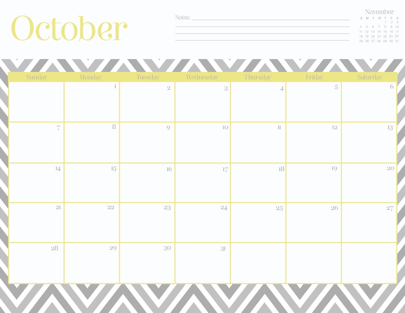 Cute October 2016 Calendar