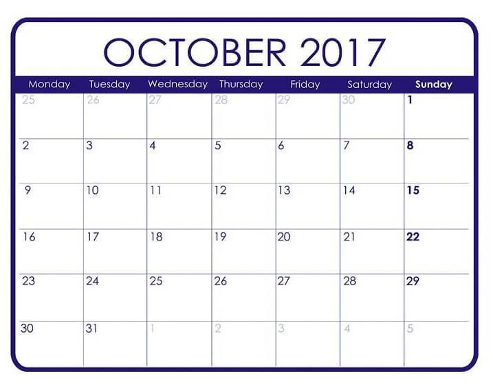Cute October 2017 Calendar Page