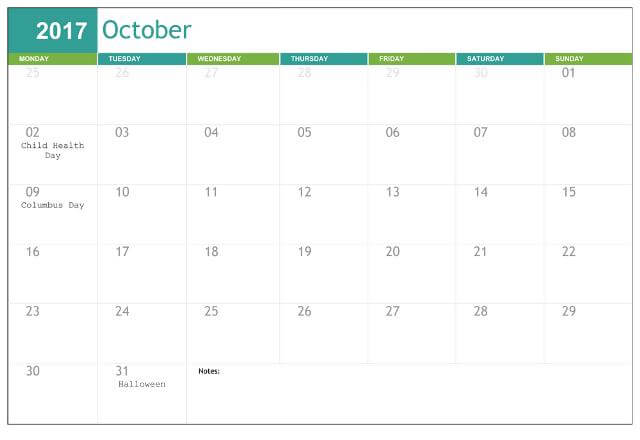 Cute October 2017 School Holidays Calendar