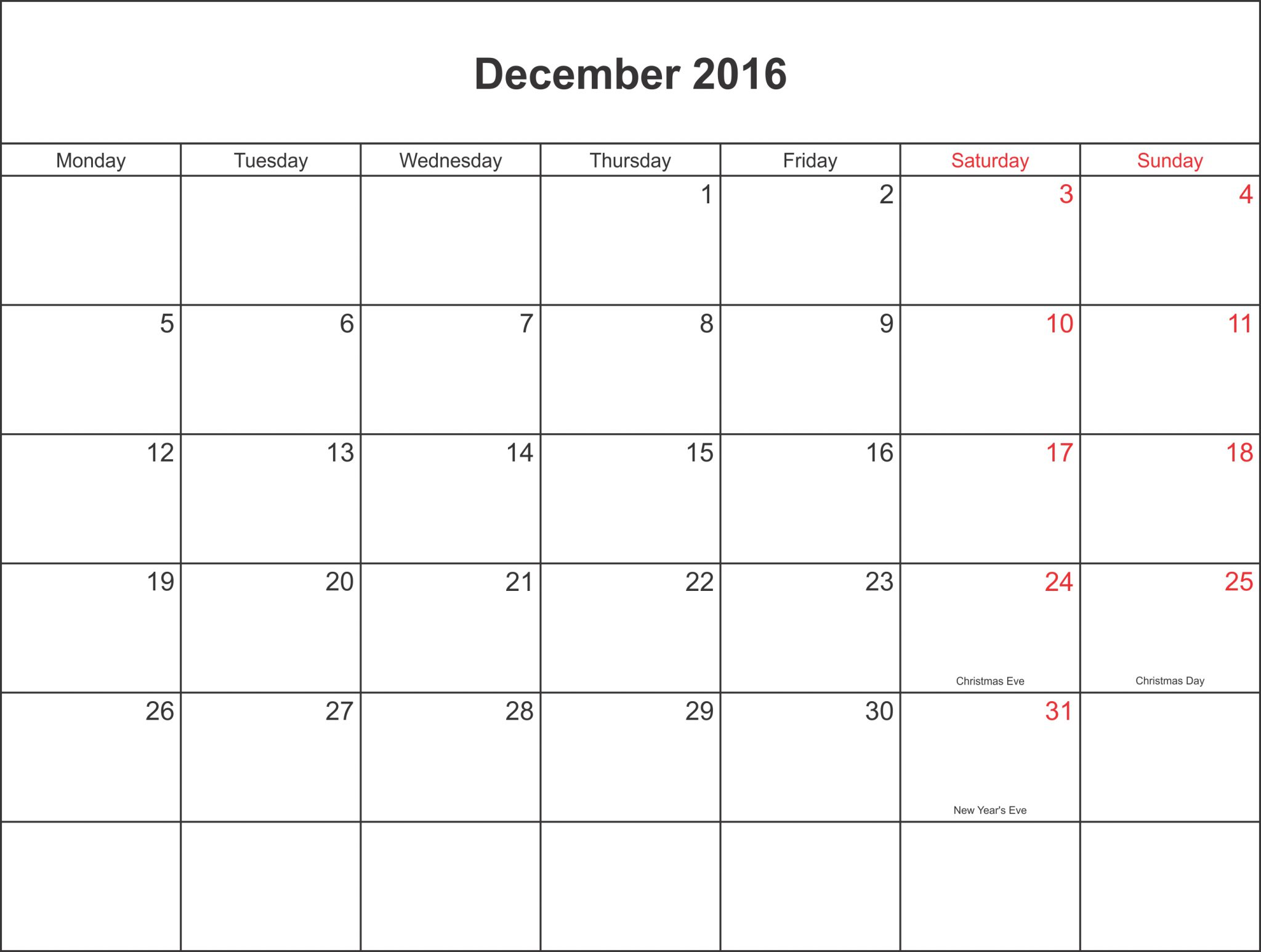 Printable monthly calendar pdf calendar template 2016