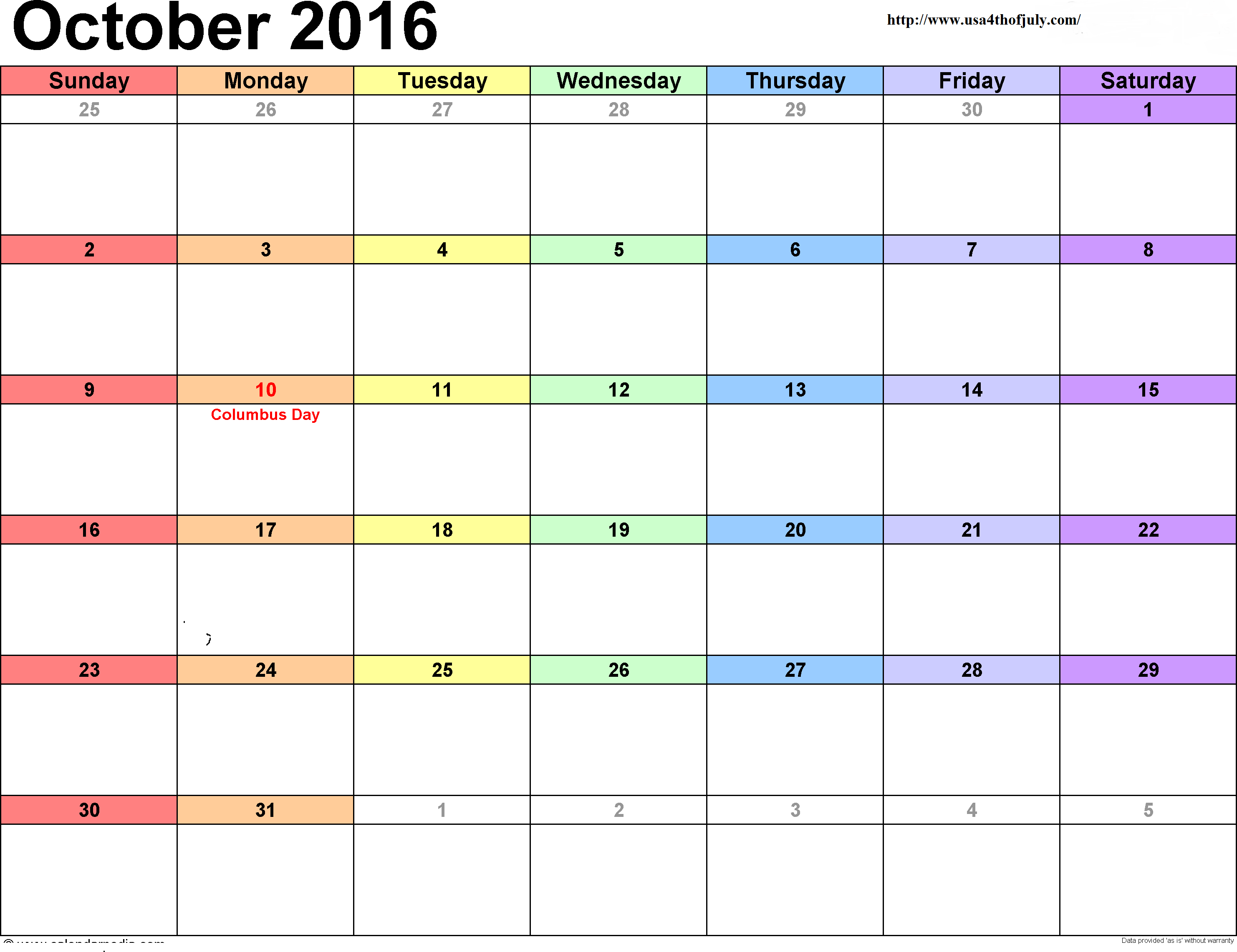 Editable October 2016 Calendar