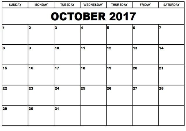 Free October 2017 Calendar Printable Template