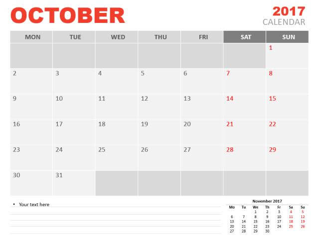 Free October 2017 Calendar Printable