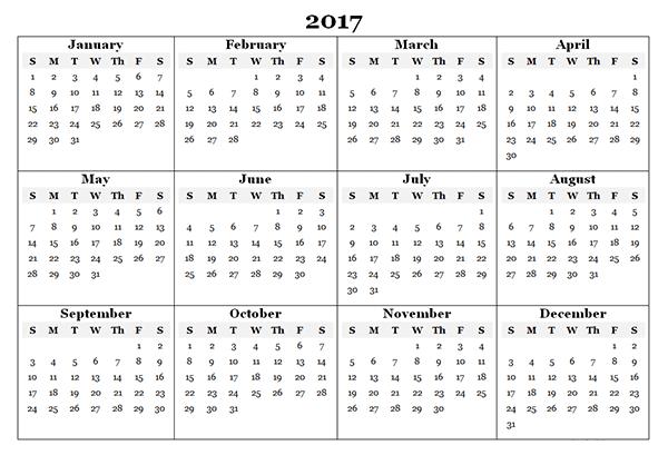 Free Printable Calendar Template 2017