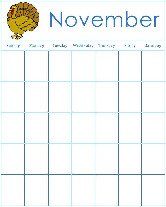 November 2016 calendar blank