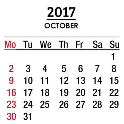Oct 2017 Calendar Cute