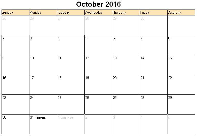 We are bringing for you some latest October 2016 Calendar in Document ...