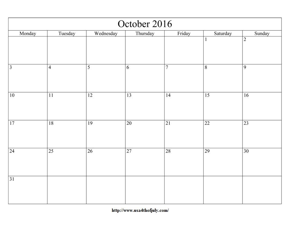 october 2016 calendar editable