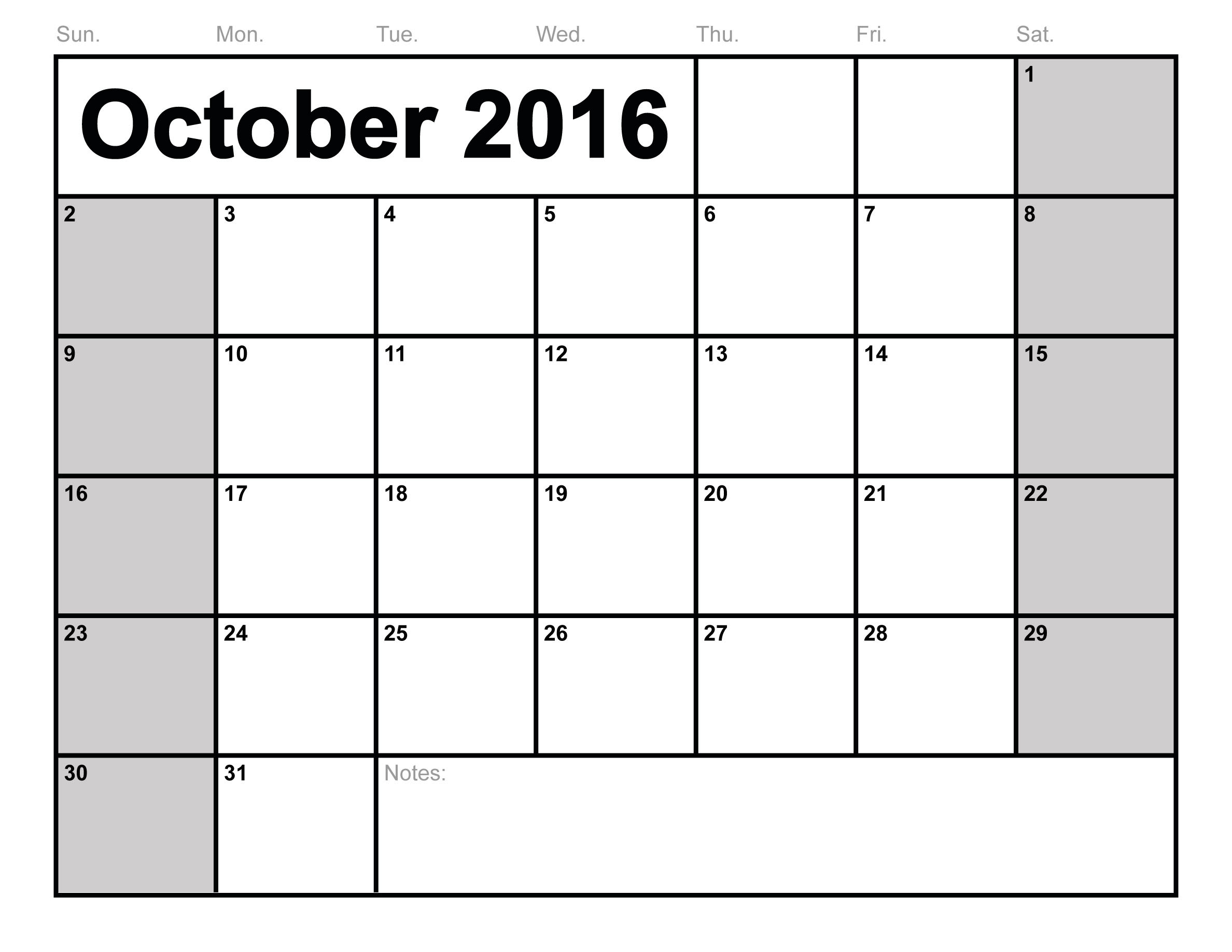 October 2016 Calendar PDF