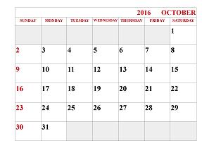 October 2016 Calendar Sheet