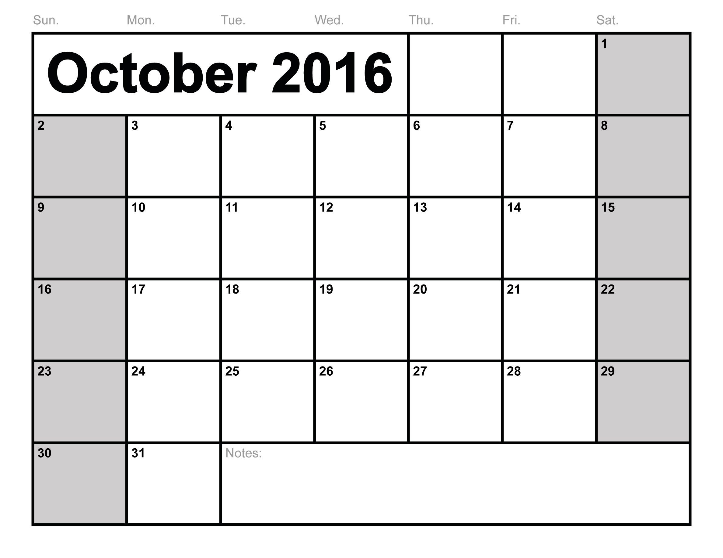 October 2016 Calendar word