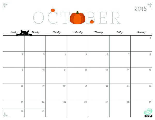 October 2016 Calendars for Word, Excel & PDF