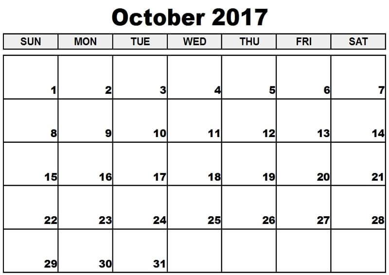 October 2017 Calendar Australia Printable