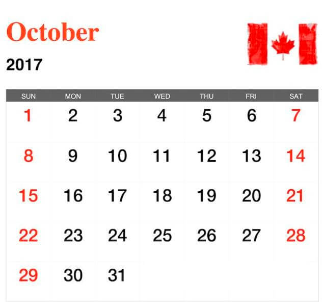 October 2017 Calendar Canada Printable