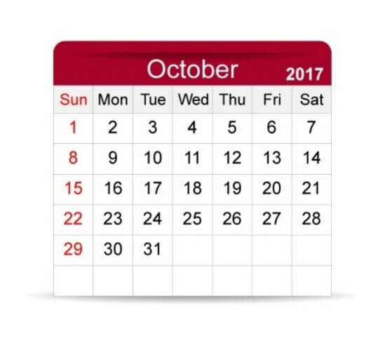 October 2017 Calendar Cute Clipart