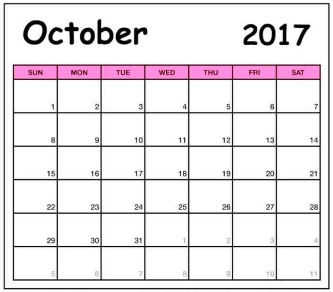 October 2017 Calendar Cute Printable Template