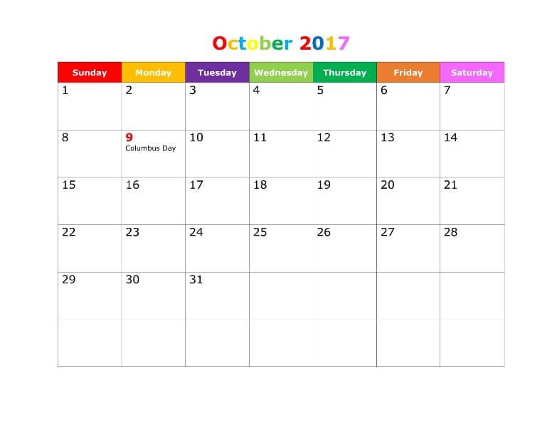 October 2017 Calendar Cute Printable