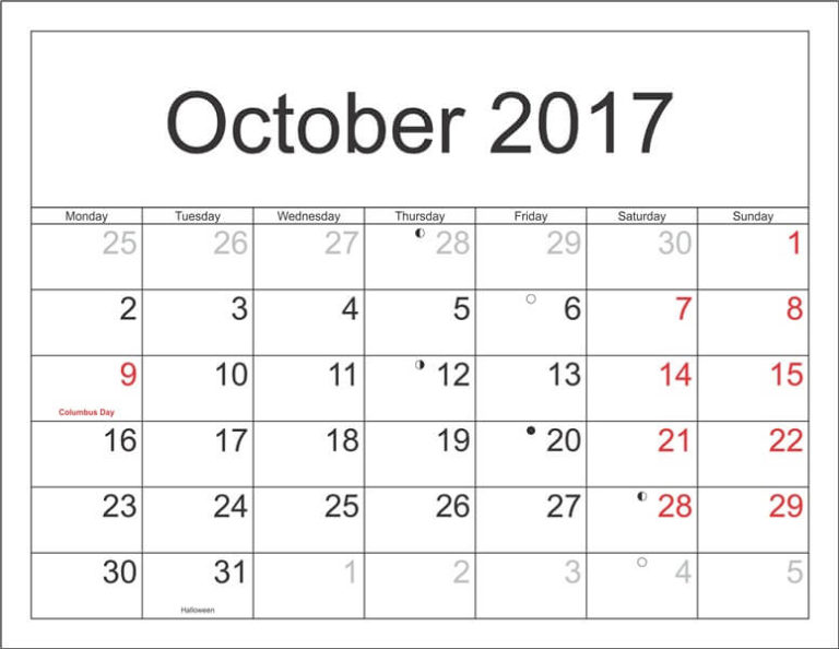 October 2017 Calendar Holidays India
