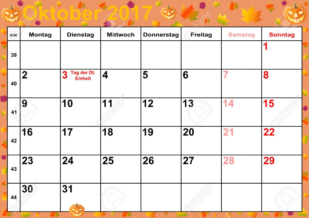 Calendar 2017 months October for Germany