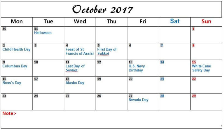 October 2017 Calendar Indian Holidays