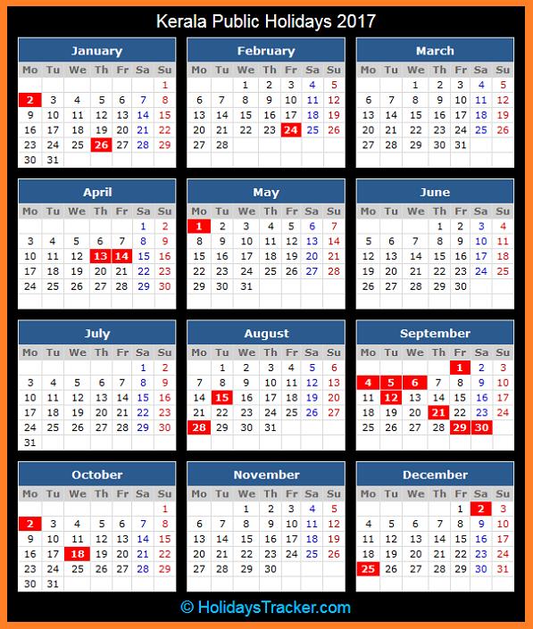 October 2017 Calendar Kerala Holidays