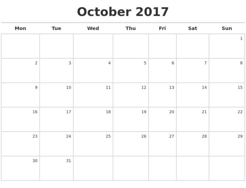 October 2017 Calendar Page Download