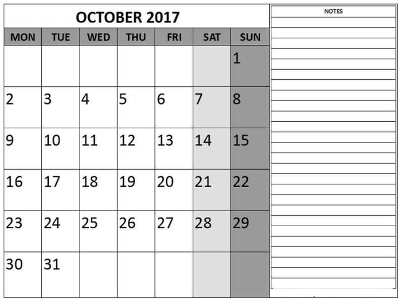 October 2017 Calendar Pdf Notes