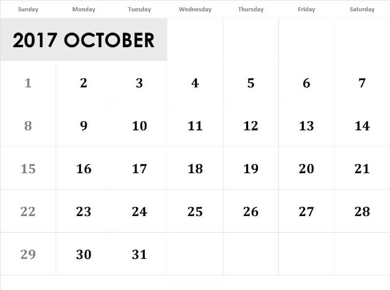 October 2017 Calendar Pdf, Word, Excel