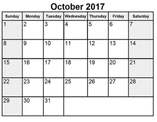 October 2017 Calendar Printable Free