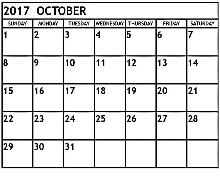 October 2017 Calendar Printable Page