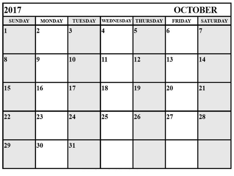 October 2017 Calendar Template To Print
