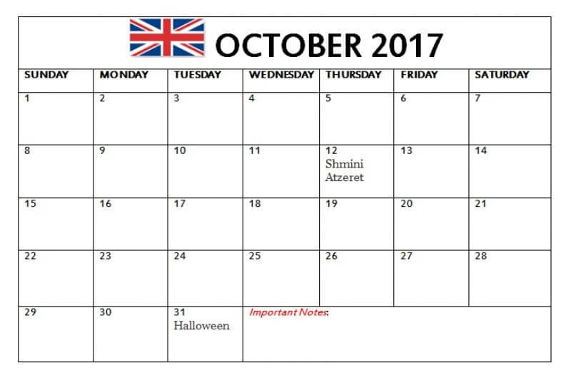 October 2017 Calendar UK Holidays Bank and Public